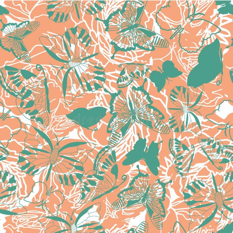 Wektorowa błękitna zieleń i pomarańczowy bezszwowy abstrakt deseniujemy tło z motylami i kwiatów kształtami ilustracja wektor
