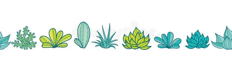 Wektorowa Błękitnej zieleni powtórki wzoru Bezszwowa Horyzontalna granica Z Narastającymi sukulentami i kaktusami W garnkach Modn royalty ilustracja