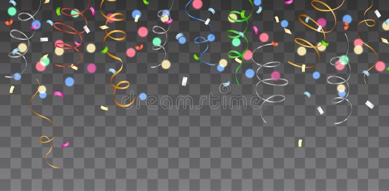 Wektorowa błyszcząca kolorowa granica z spada streamers i confetti ilustracji
