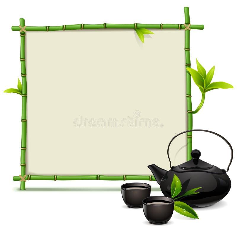 Wektorowa bambus rama z herbatą ilustracja wektor