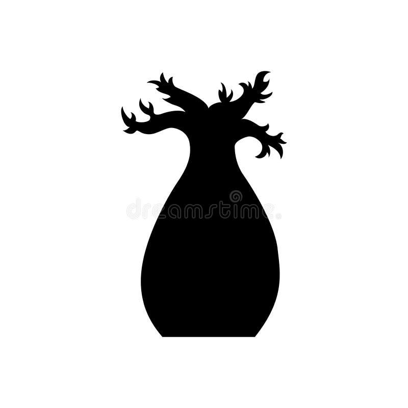 Wektorowa baobabu drzewa sylwetka Czarny baobabu drzewo ilustracji