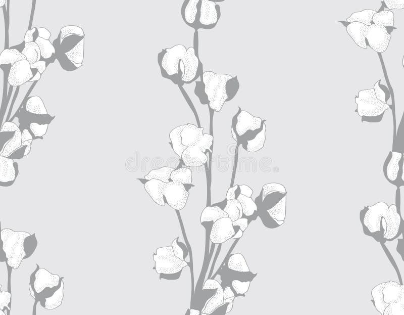 Wektorowa bawełniana wektorowa ręka rysujący kwiatu bezszwowy wzór ilustracja wektor