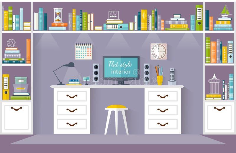Wektorowa bawialnia, domowa biblioteka lub workspace, ilustracja wektor