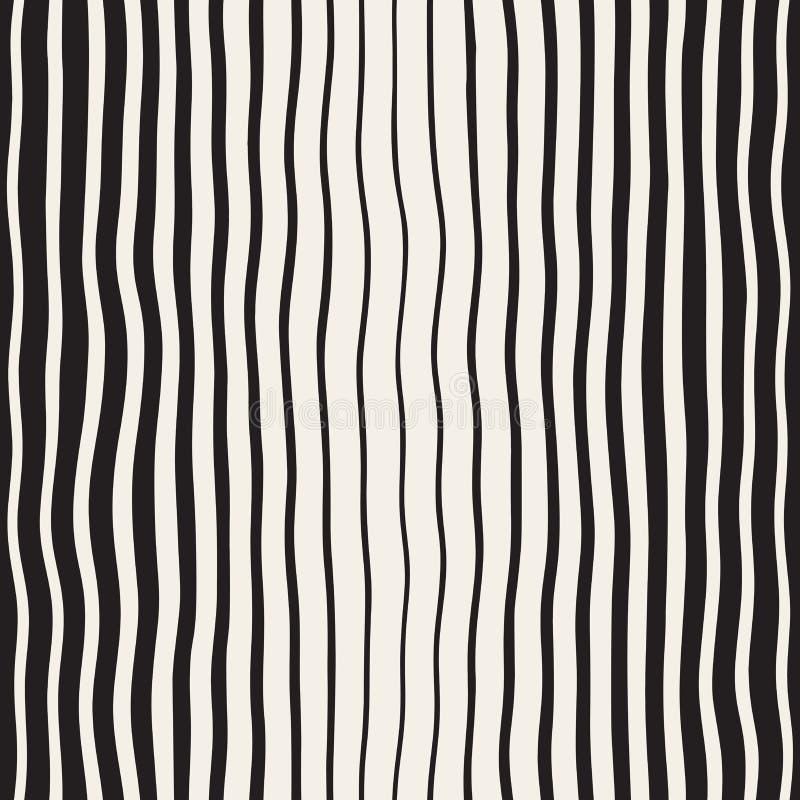 Wektorowa Bezszwowa Czarny I Biały ręka Rysujący Pionowo Falisty linia wzór ilustracji