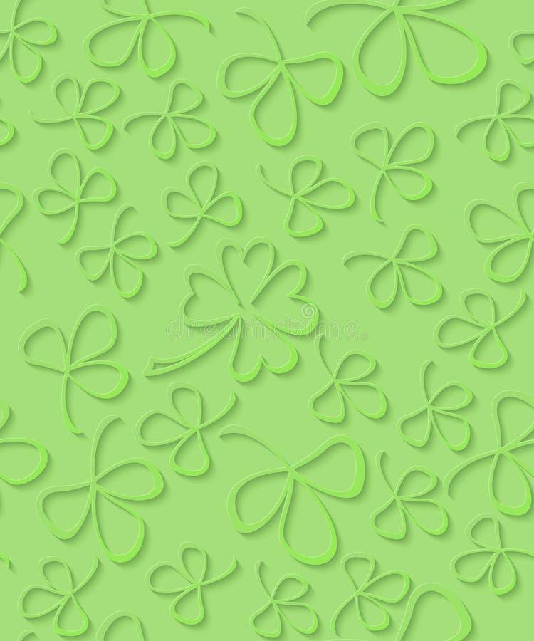 Wektorowa Bezszwowa 3D zielonego papieru cięcia wzoru koniczyna dla St Patrick ` s dnia, Shamrock opakunkowy papier, ornament kon ilustracji