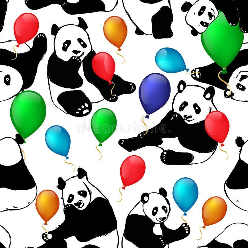 Wektorowa bezszwowa deseniowa śliczna mała panda z lotniczym balonem ilustracja wektor