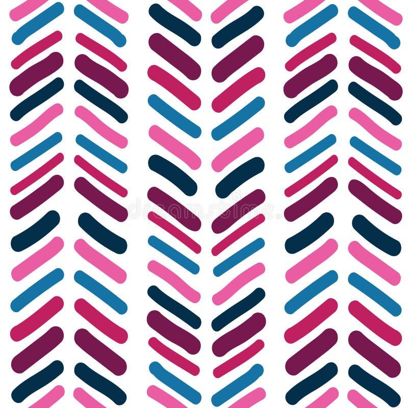 Wektorowa Bezszwowa deseniowa abstrakcjonistyczna ręka rysujący szewronu tła brushstroke kształty deseniują teksturę Prosty nowoż royalty ilustracja