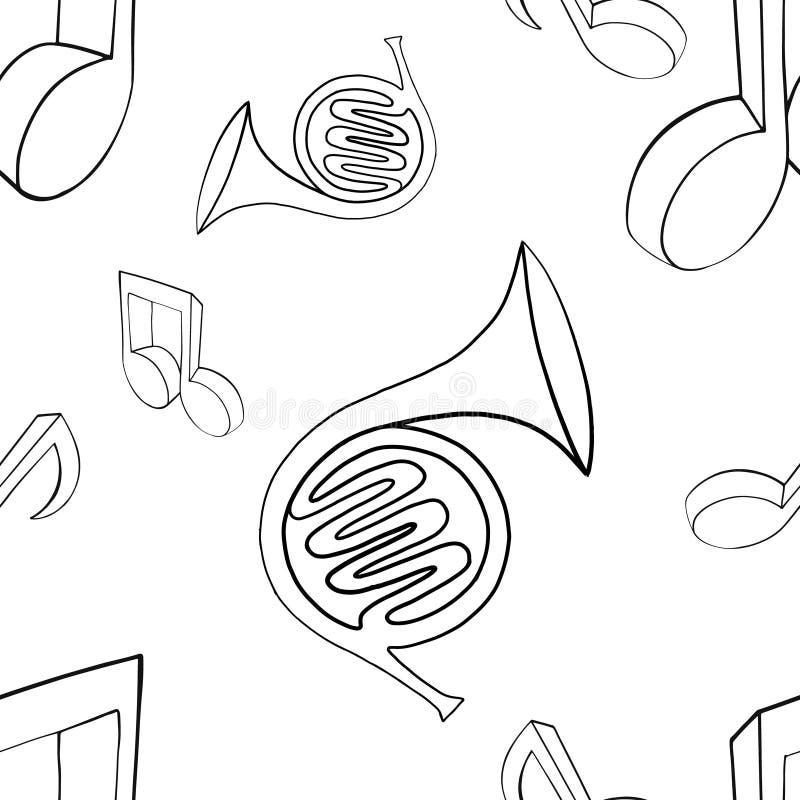 Wektorowa bezszwowa deseniowa graficzna ilustracja francuski róg, muzyk notatki, nakreślenie rysunek, doodle styl czarny abstrakc royalty ilustracja