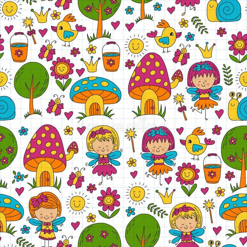 Wektorowa bezszwowa deseniowa ilustracja magiczny las z czarodziejkami Doodle wzór ilustracji