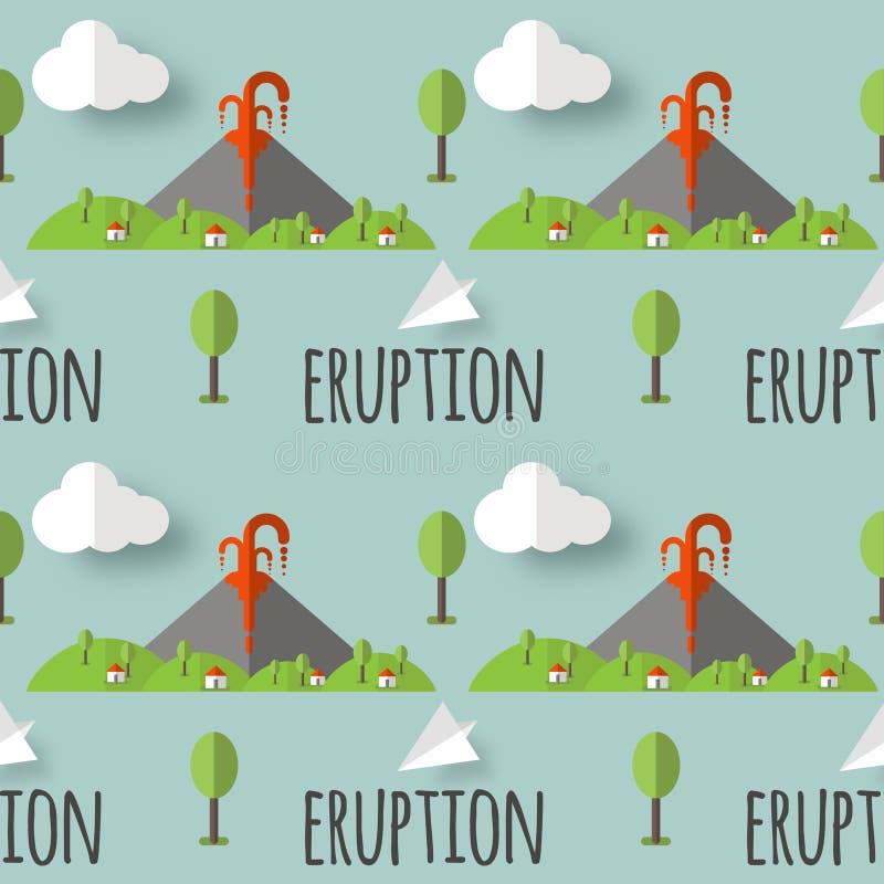 Wektorowa bezszwowa deseniowa powulkaniczna erupcja Dym i lawa od krateru wioski i drzew przy stopą, Używać dla pocztówek, royalty ilustracja