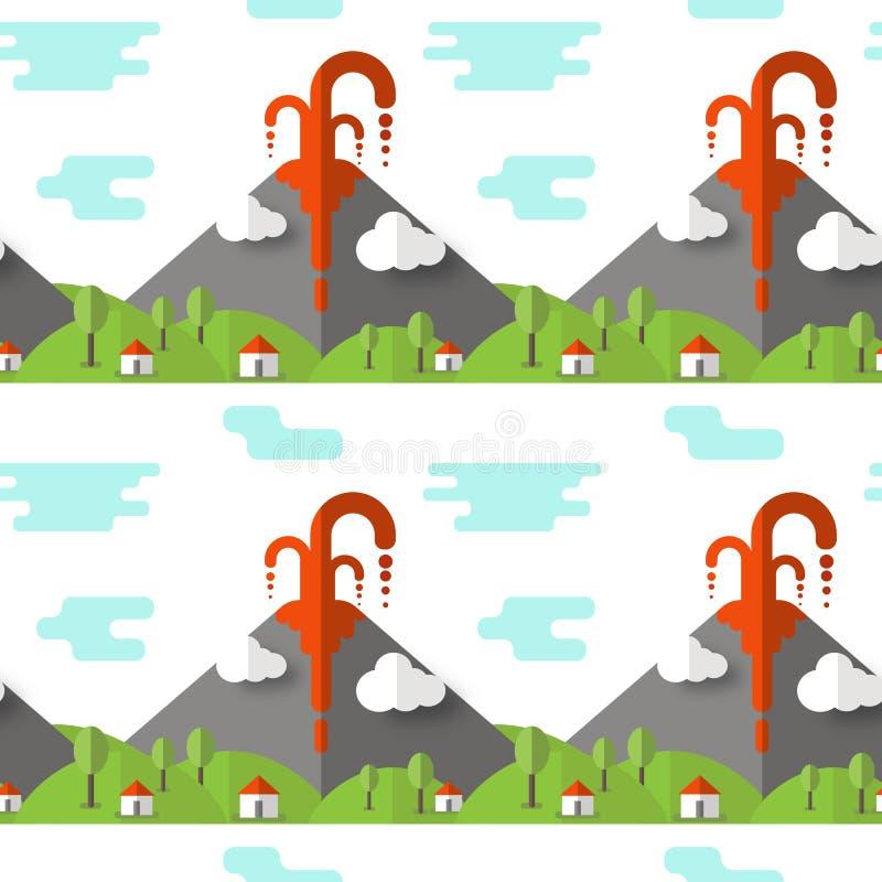 Wektorowa bezszwowa deseniowa powulkaniczna erupcja Dym i lawa od krateru wioski i drzew przy stopą, Używać dla pocztówek, ilustracji