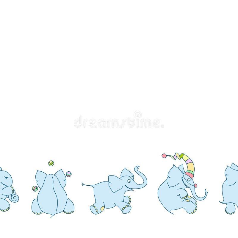 Wektorowa bezszwowa granica śliczni kreskówka słonie na białym tle Śmieszny juggler, błazen ilustracja wektor