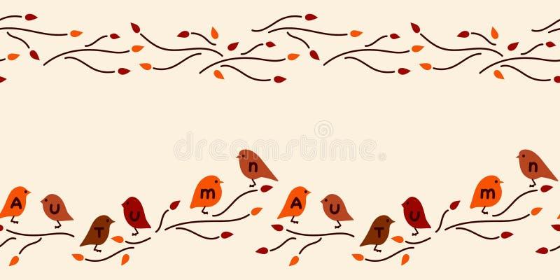 Wektorowa bezszwowa granica Jesień, ręka rysująca inskrypcja, śliczni ptaki royalty ilustracja