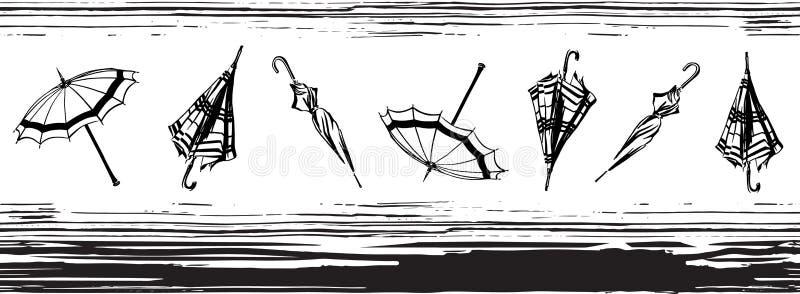 Wektorowa bezszwowa granica z otwartą i zamkniętą ręką rysujący parasole prążkowany wzór Niekończący się nakreślenia czerni ilust ilustracja wektor
