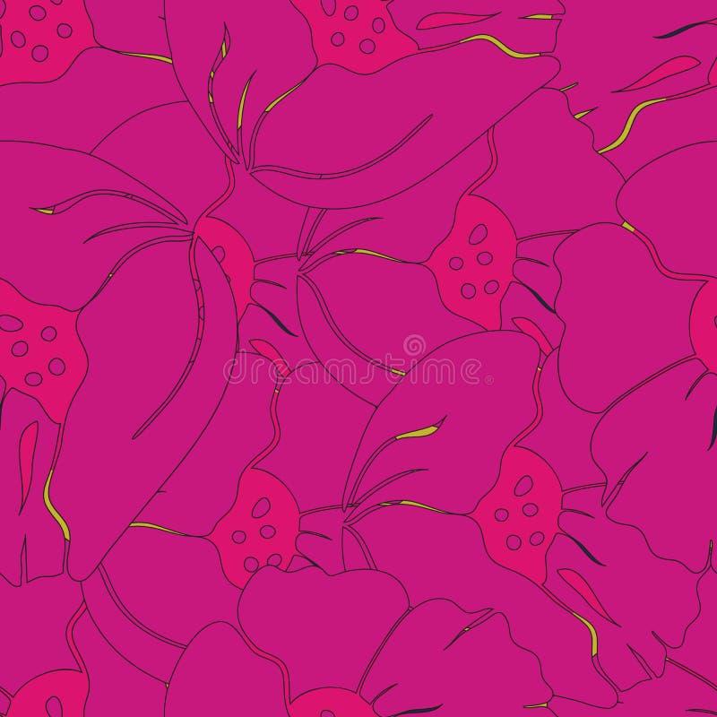 Wektorowa bezszwowa ilustracja rozochoceni jaskrawi menchii i pomarańcze makowi kwiaty ilustracji
