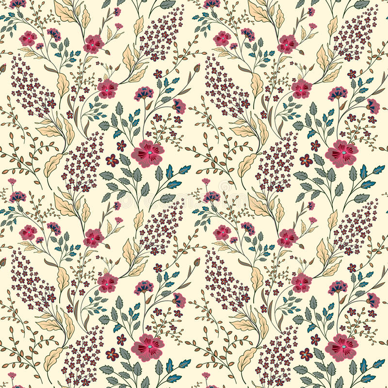 Wektorowa bezszwowa jaskrawa kolorowa delikatna ręka rysujący mały ditsy kwiatu wzór Jaskrawy kwiecisty po całym druk na czerni royalty ilustracja
