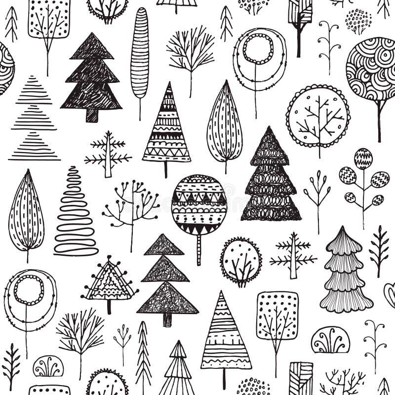 Wektorowa Bezszwowa liniowa tekstura z ornamentacyjnymi drzewami Nieko?cz?cy si? r?ka rysuj?cy czarny i bia?y wz?r Szablon dla pr ilustracja wektor