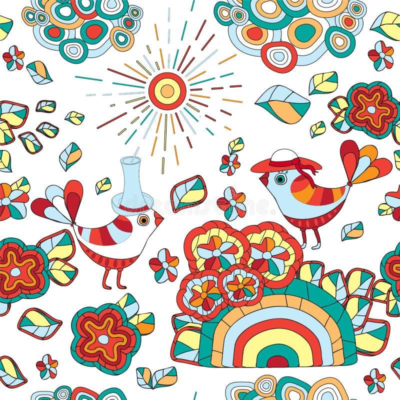 Download Wektorowa Bezszwowa Tekstura Z Abstrakcjonistycznym Kwiatem I Ptakiem Bezszwowy Ilustracji - Ilustracja złożonej z dekoracje, oriental: 53790920