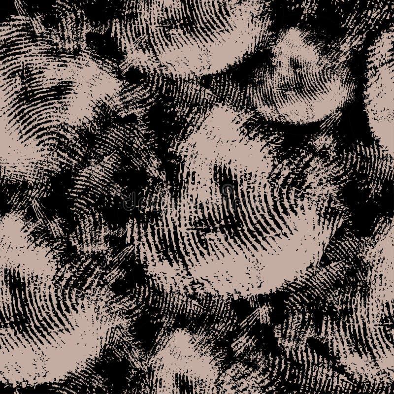 Wektorowa bezszwowa tekstura z czarnymi odciskami palca na beżowym tle Właściwie jako tło criminalistics royalty ilustracja