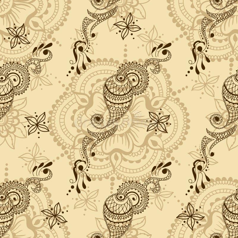 Wektorowa bezszwowa tekstura z kwiecistym ornamentem w hindusa stylu Mehndi ornamentacyjny Paisley royalty ilustracja