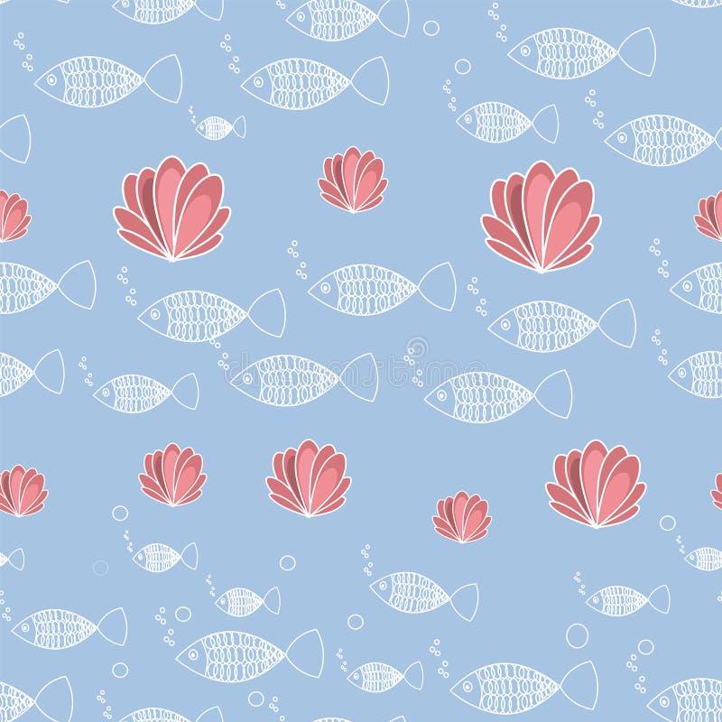 Wektorowa bezszwowa wz?r ryba i korala b??kita bakground ilustracji