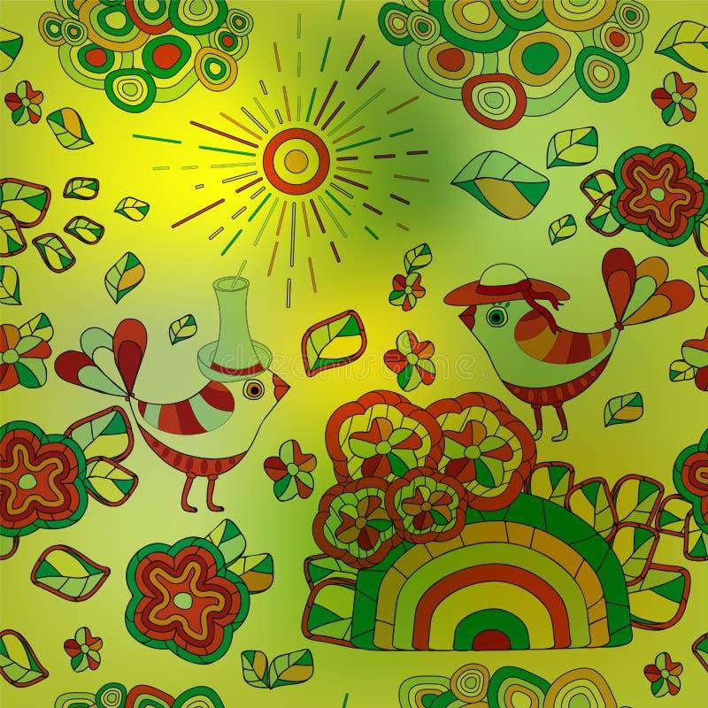 Download Wektorowa Bezszwowa Zamazana Tekstura Z Abstrakcjonistycznym Kwiatem I Ptakiem S Ilustracji - Ilustracja złożonej z abstrakt, dekoracje: 53791017