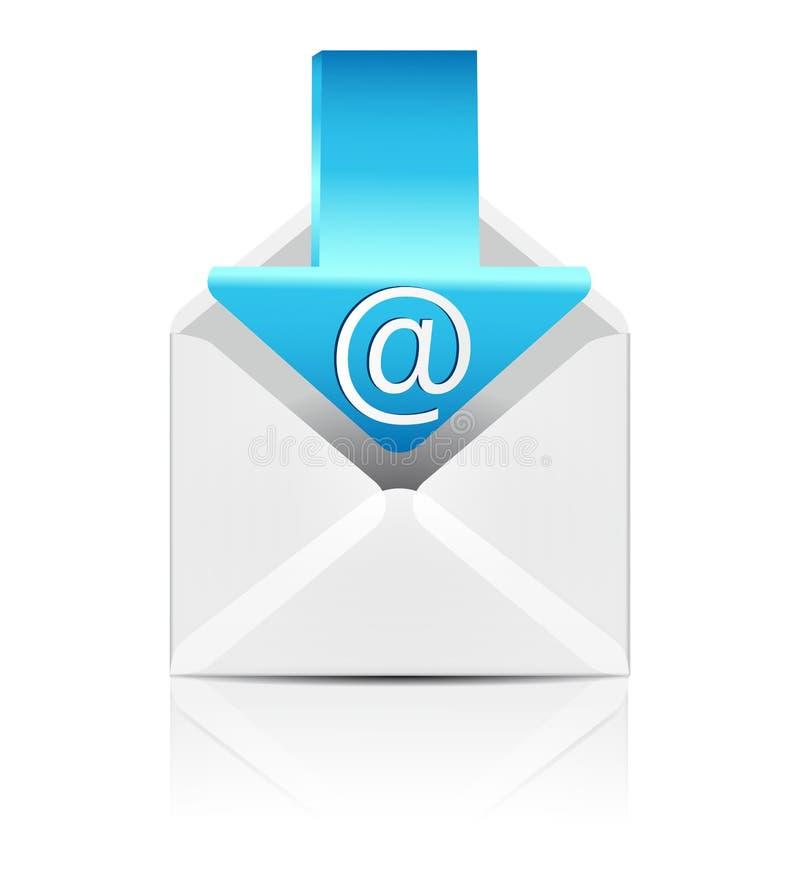 Wektorowa biała koperta z strzałkowatą emaila znaka ikoną ilustracja wektor