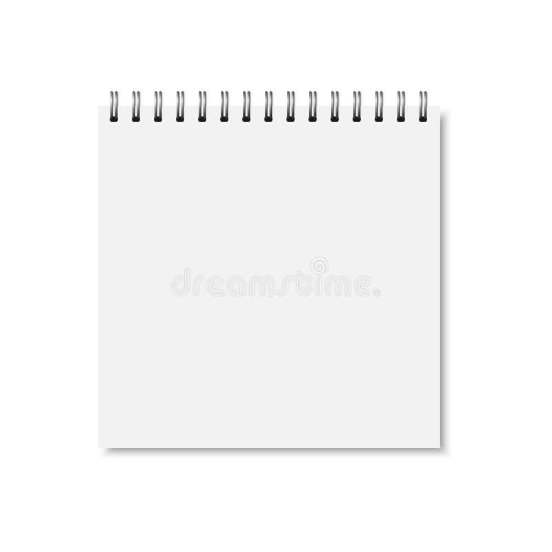 Wektorowa biała realistyczna zamknięta notatnik pokrywa royalty ilustracja