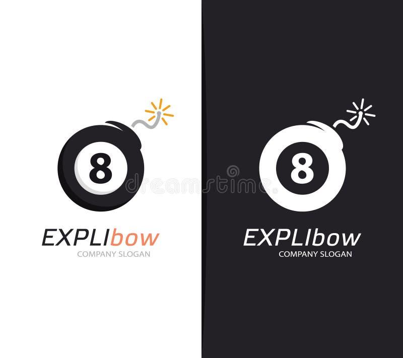 Wektorowa bilardowej piłki i bomby loga kombinacja Snooker, zniszczenie ikona i symbol lub ilustracja wektor