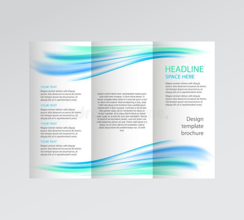 Wektorowa biznesowa broszurka, ulotka szablon abstrakcjonistycznego tła błękitny ilustraci fala biel ilustracja wektor