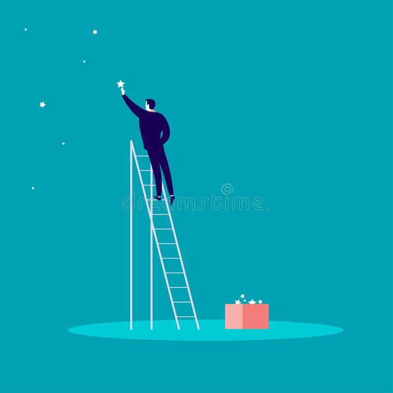 Wektorowa biznesowa pojęcie ilustracja z biznesmen pozycją na schodkach i dojechanie gramy główna rolę na niebie ilustracji