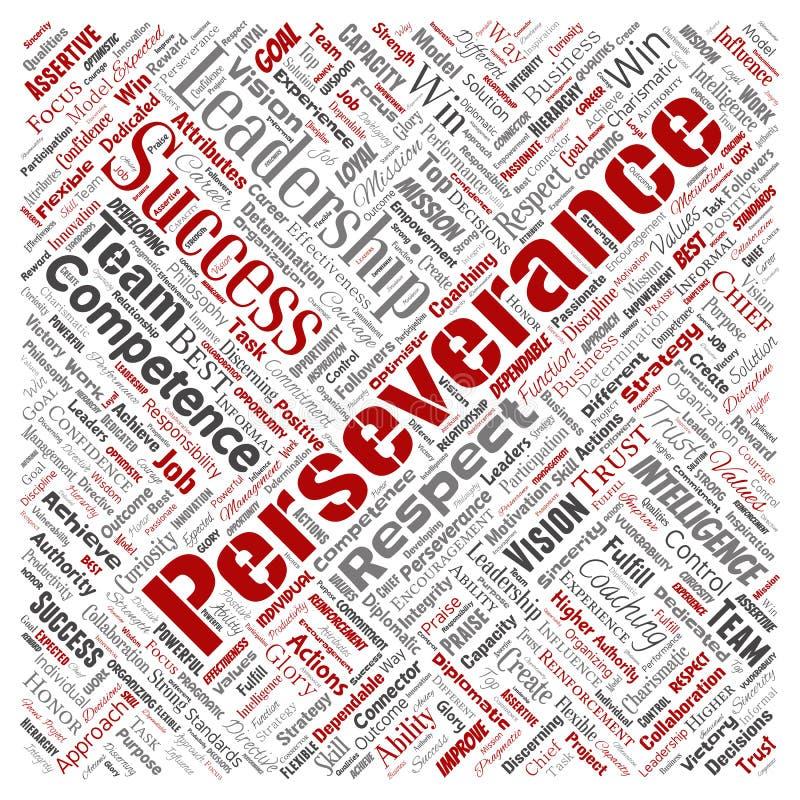 Wektorowa biznesowa przywódctwo strategia, zarządzanie wartości kwadrata słowa czerwona chmura odizolowywał tło Kolaż sukces, ac ilustracji