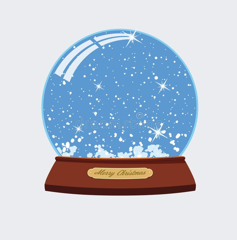 Wektorowa boże narodzenie ilustracja śnieżna kula ziemska ilustracji