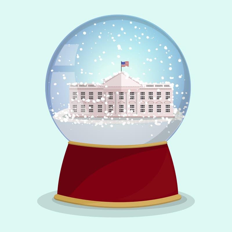 Wektorowa Bożenarodzeniowa Szklana kula ziemska z spada śniegu i bielu domem w nim Waszyngton dc royalty ilustracja