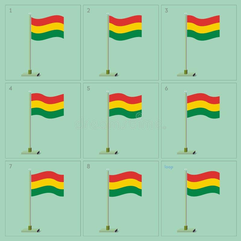 Wektorowa Boliwia kraju falowania flaga animacja Sekwenci sprite prześcieradła ilustracja royalty ilustracja