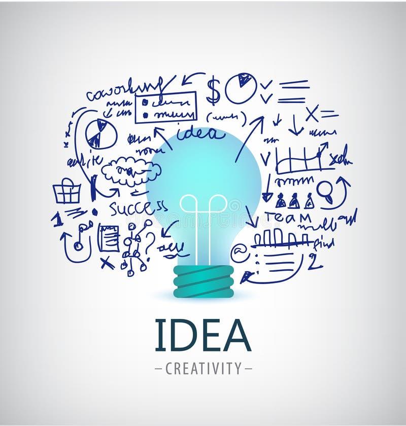 Wektorowa brainstorm ilustracja, pomysł, biznesowy logo, ikona, sztandar Żarówka, plan, zaczyna up royalty ilustracja