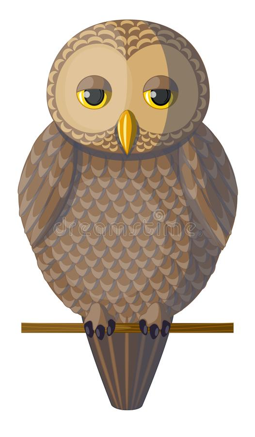 Wektorowa brown śpiąca sowa royalty ilustracja