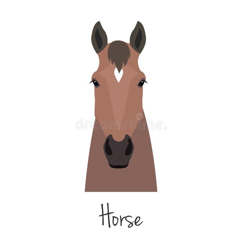Wektorowa brown końska głowa odizolowywająca Mieszkanie, kreskówka stylu przedmiot ilustracji