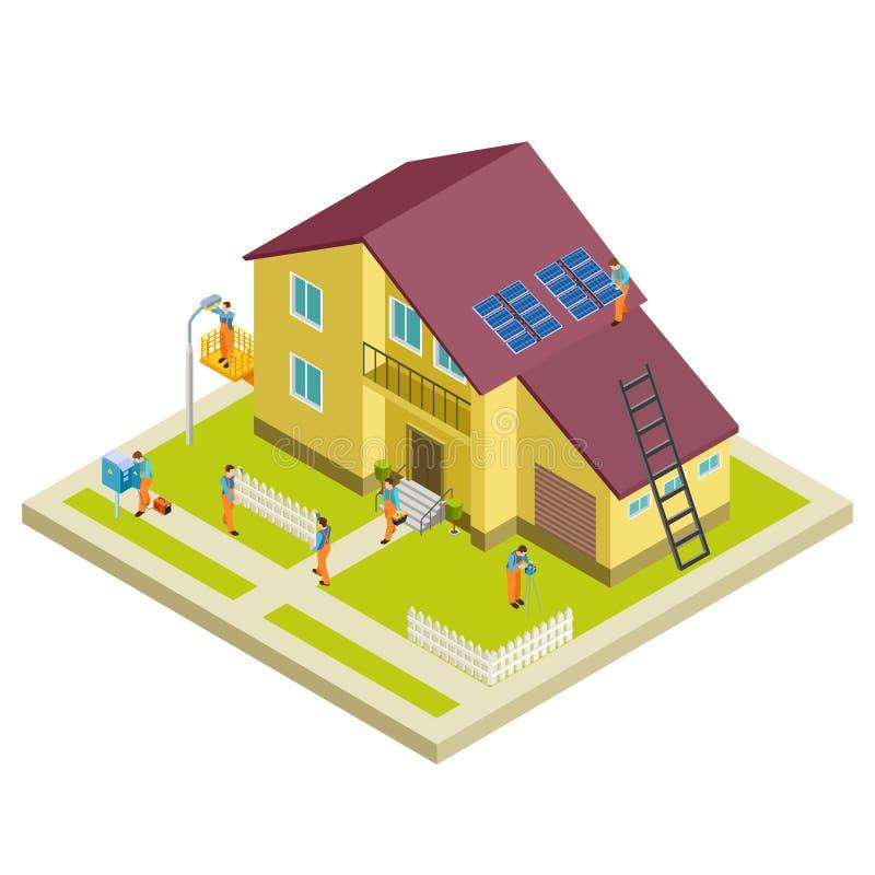Wektorowa budowa, odbudowa i remontowy wiejski domowy isometric pojęcie, ilustracja wektor