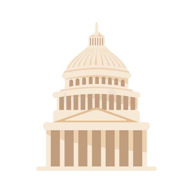 Wektorowa budynek ilustracja Stany Zjednoczone Capitol ikona w obmyciu ilustracja wektor