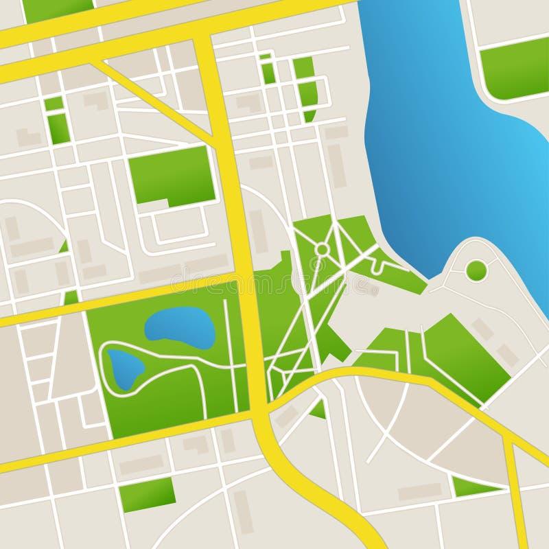 Wektorowa cbstract miasta mapa i rzeka ilustracji
