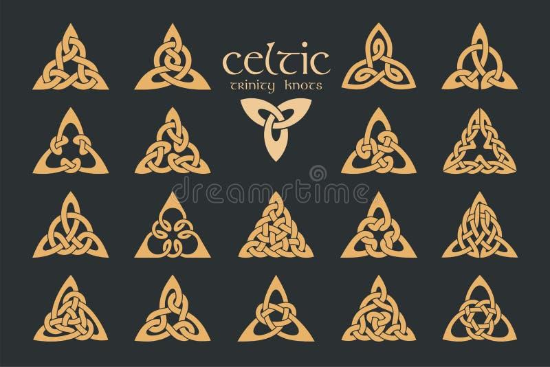 Wektorowa celta trinity kępka 18 rzeczy ornament etniczne geometryczny royalty ilustracja