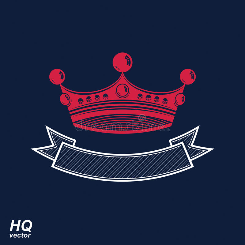 Wektorowa cesarska korona z undulate faborek Klasyczny coronet royalty ilustracja