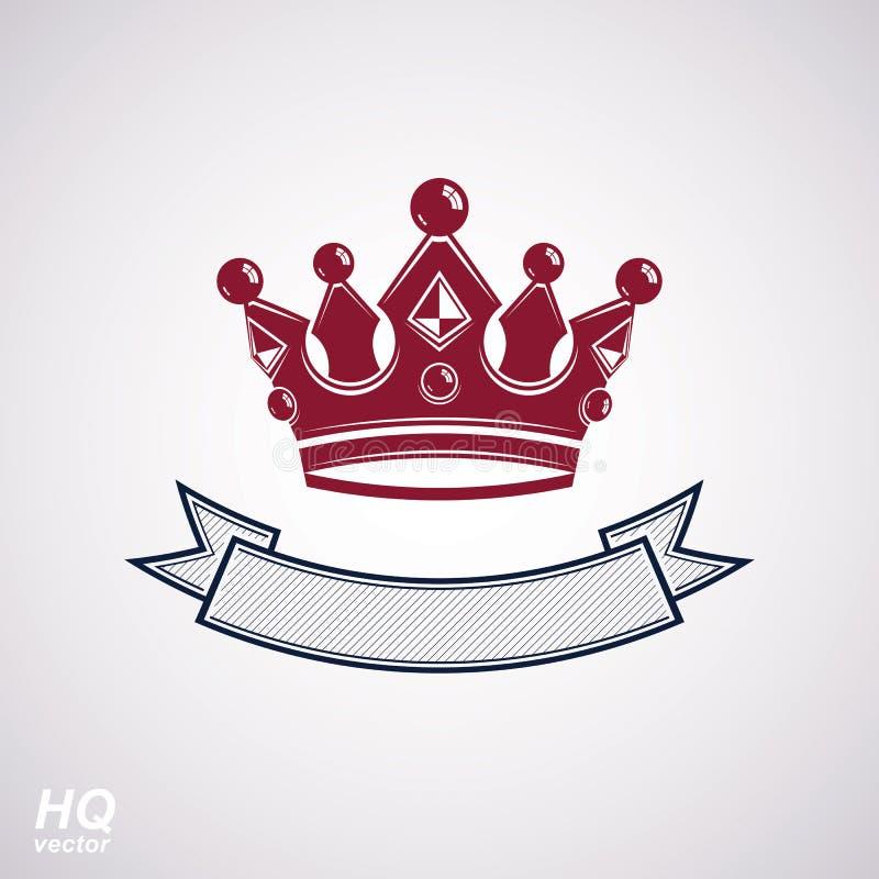 Wektorowa cesarska korona z undulate faborek Klasyczny coronet z dekoracyjnym curvy zespołem ilustracji
