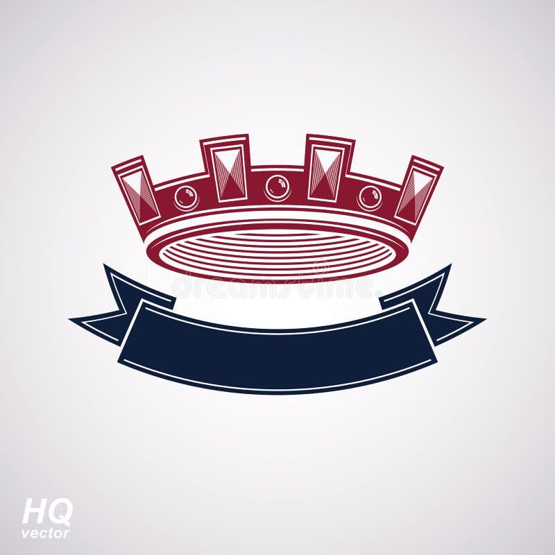 Wektorowa cesarska korona z undulate faborek Klasyczny coronet z dekoracyjnym curvy zespołem royalty ilustracja