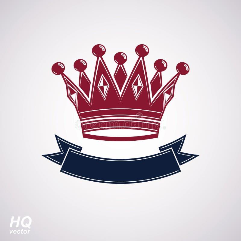 Wektorowa cesarska korona z undulate faborek Klasyczny coronet z dekoracyjnym curvy zespołem ilustracja wektor