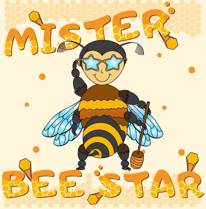 Wektorowa chłodno miodowa pszczoły chłopiec ilustracji