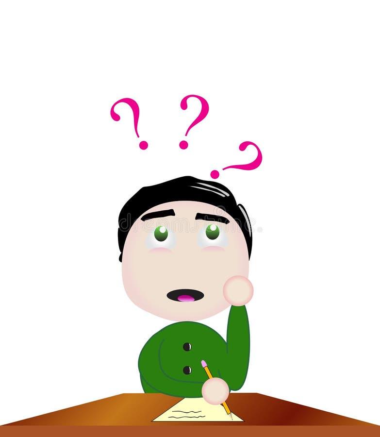 Wektorowa chłopiec trudność rozwiązuje problem przy szkołą ilustracja wektor