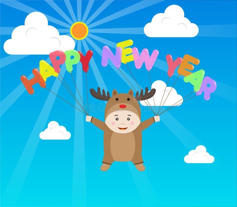 Wektorowa chłopiec w Reniferowego kostiumowego mienia nowego roku Szczęśliwym balonie wewnątrz royalty ilustracja
