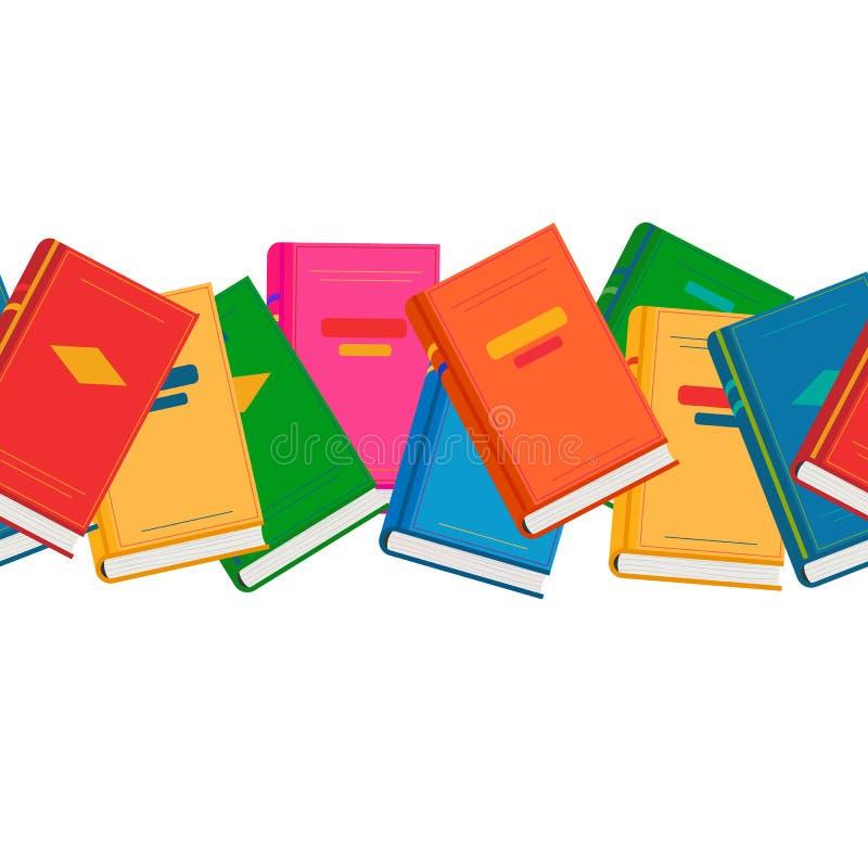 Wektorowa chaotyczna niekończący się horyzontalna granica z barwionymi książkami royalty ilustracja